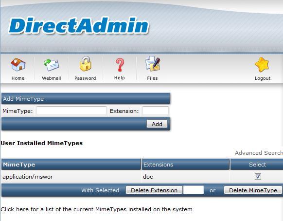 آموزش mimetype در direct admin