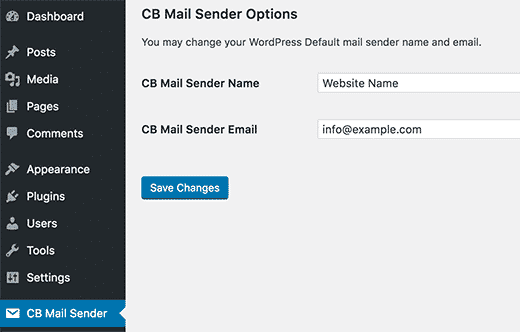 افزونه CB Change Mail Sender