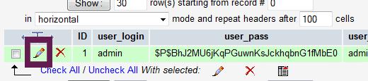 ریست رمز عبور وردپرس از طریق phpmyadmin