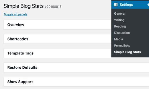 افزونه Simple Blog Stats