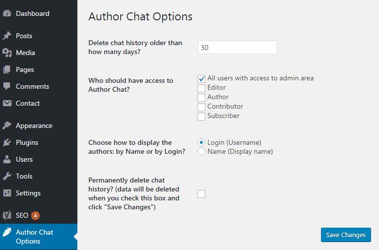 تنظیمات افزونه Author Chat