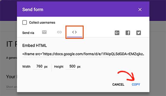 استفاده از فرم های گوگل در وردپرس