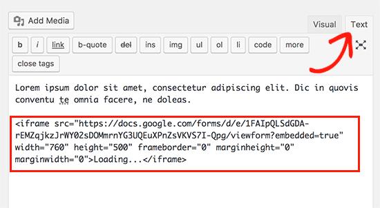 نمایش Google Forms در وردپرس