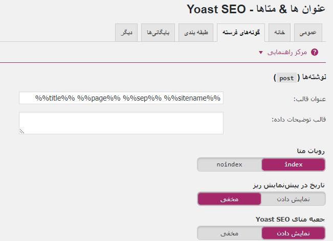 عنوان ها و متاها - Yoast SEO