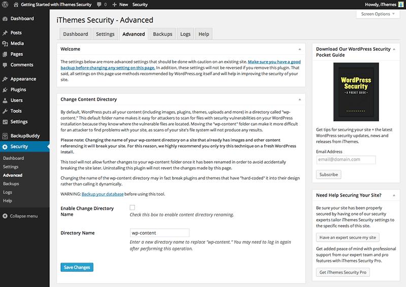 راه اندازی افزونه امنیتی iThemes security