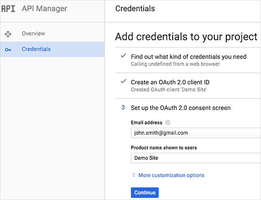 ساخت کلیدهای API برای Gmail