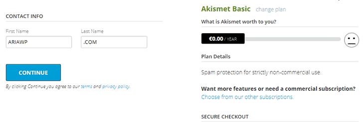 ثبت نام در Akismet