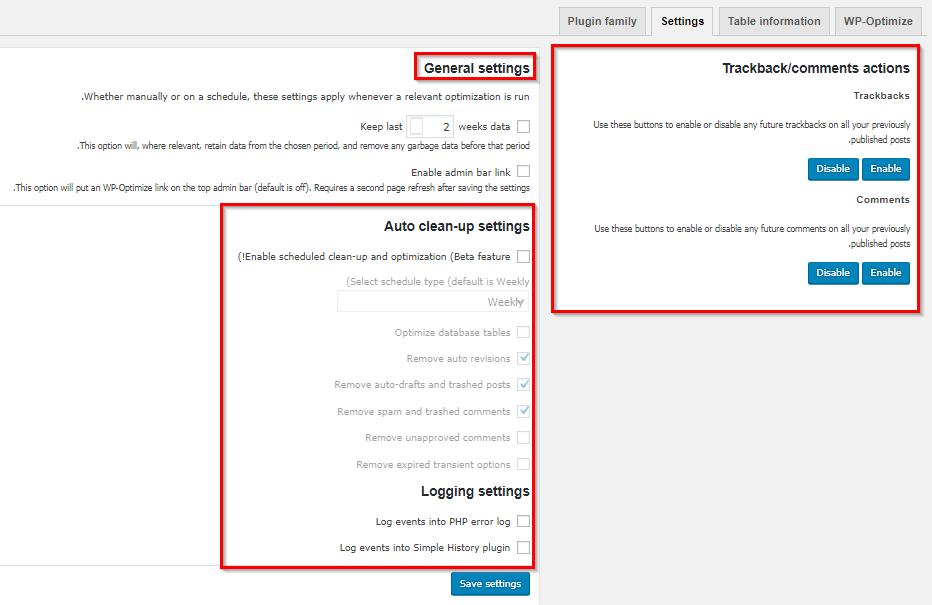 تنظیمات افزونه WP Optimize