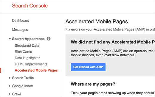 تنظیمات AMP در گوگول وبمستر