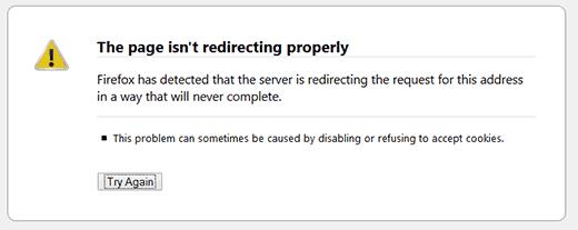 خطا Too Many Redirects در فایرفاکس