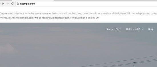 خطا PHP در سایت