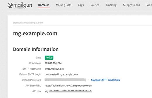 اطلاعات دامنه ایمیل Mailgun