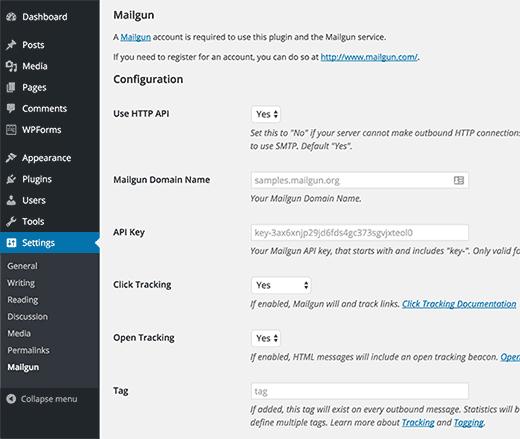 تنظیمات افزونه Mailgun