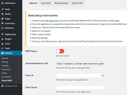 تنظیمات افزونه Gmail SMTP