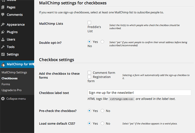افزونه MailChimp