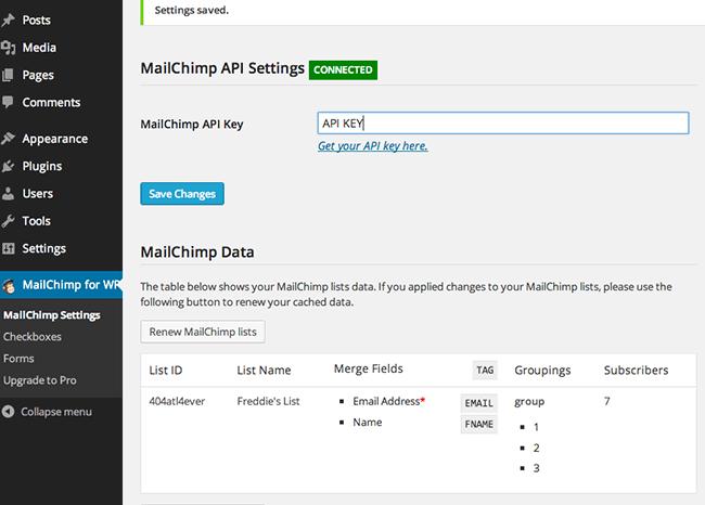 تنظیمات افزونه MailChimp