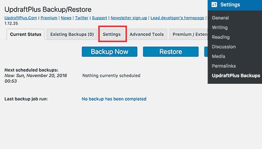 تنظیمات افزونه UpdraftPlus