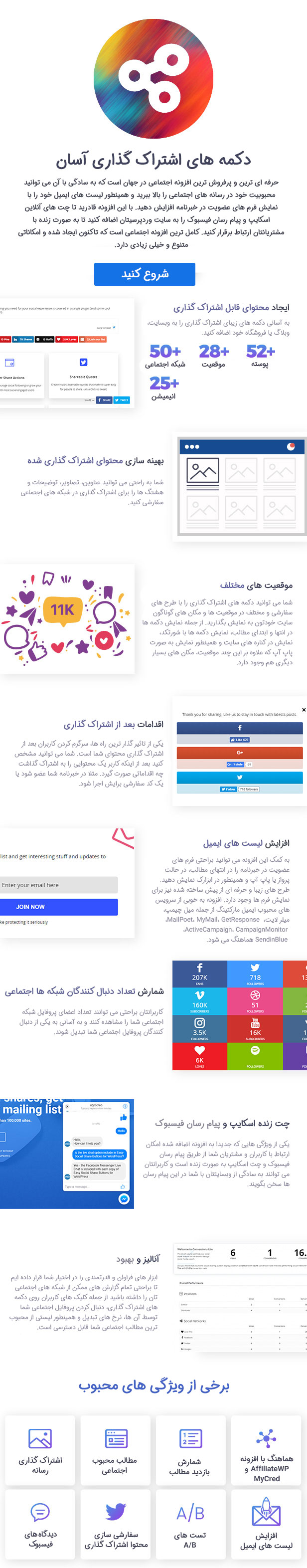 ویژگی های افزونه Easy Social Share Buttons for WordPress