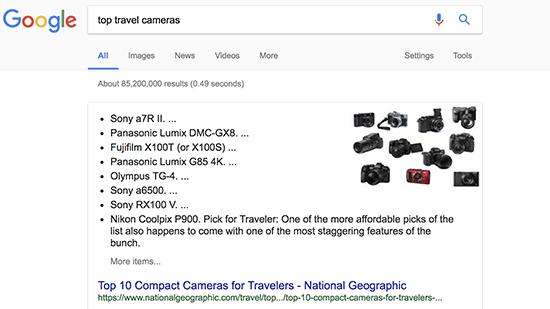 لیست ها در جعبه پاسخ گوگل