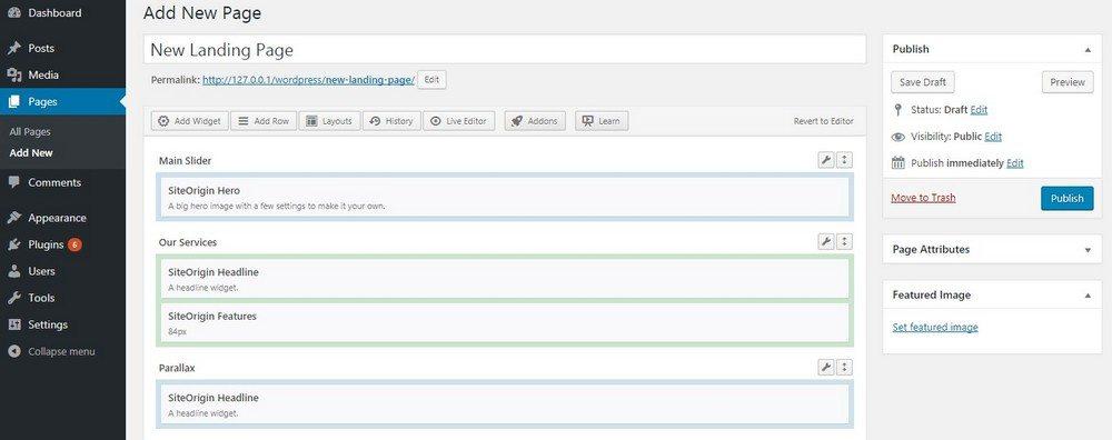 صفحه ساز SiteOrigin