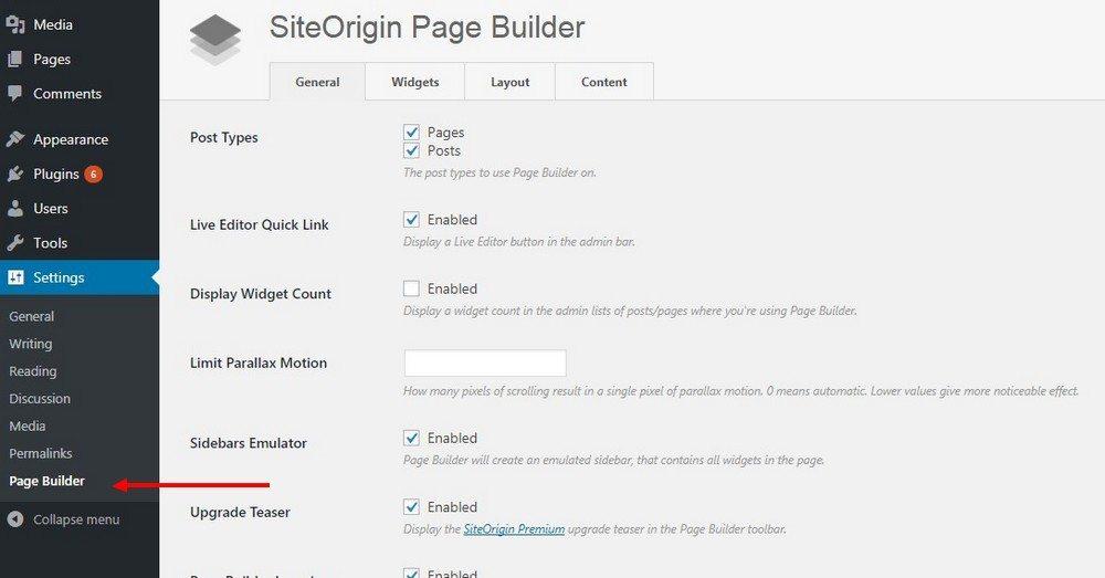 تنظیمات SiteOrigin
