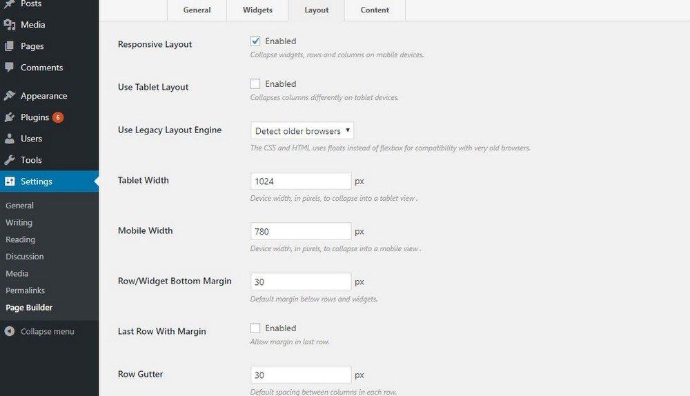 تنظیمات افزونه SiteOrigin