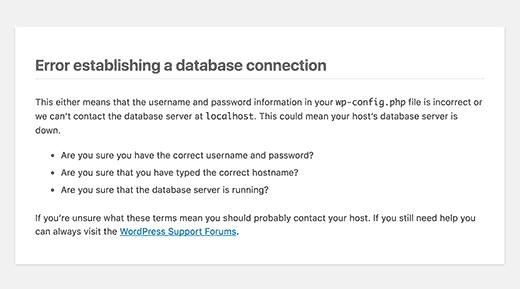 رفع خطا در برقراری ارتباط با پایگاه داده