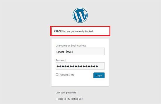 بلاک حساب در وردپرس