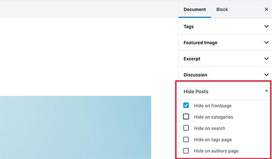 پلاگین پنهان کردن پست از صفحه اصلی