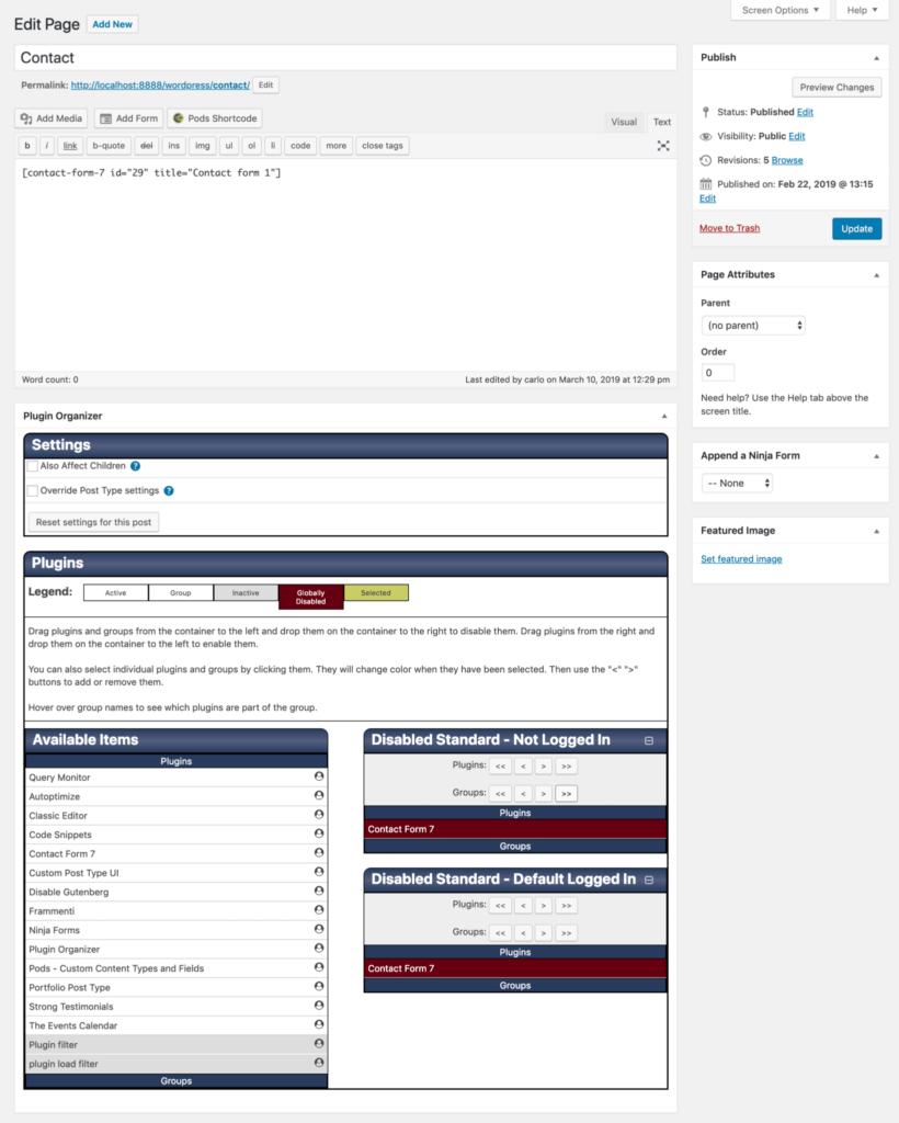 غیرفعال کردن افزونه ها برای صفحات خاص با افزونه Plugin Organizer