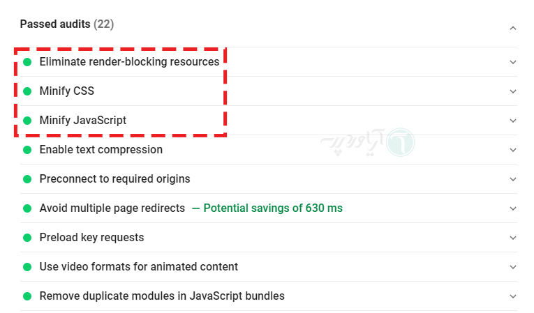 حل شدن مشکل و نمایش پیام موفقیت آمیز Eliminate render-blocking resources