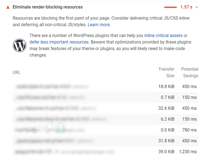 خطای Render-Blocking JavaScript و CSS در Google PageSpeed