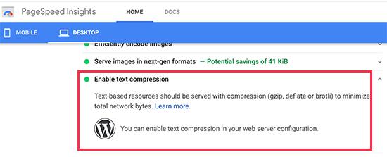 هشدار Google Pagespeed Insights