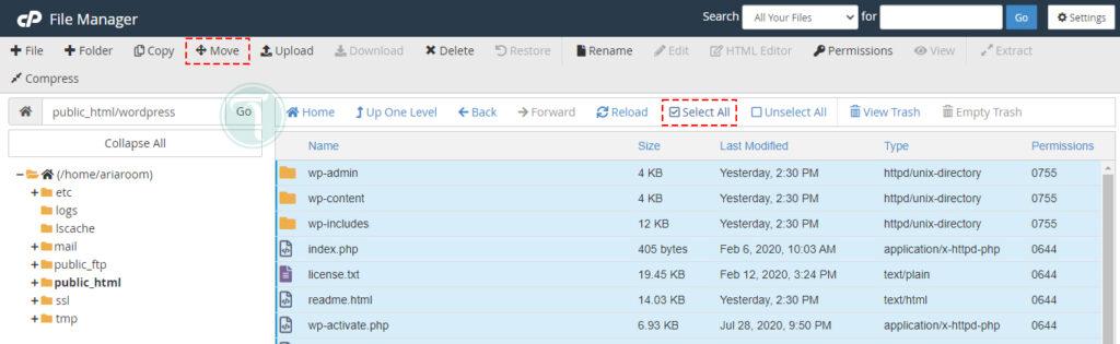 انتقال فایل های وردپرس به ریشه سایت