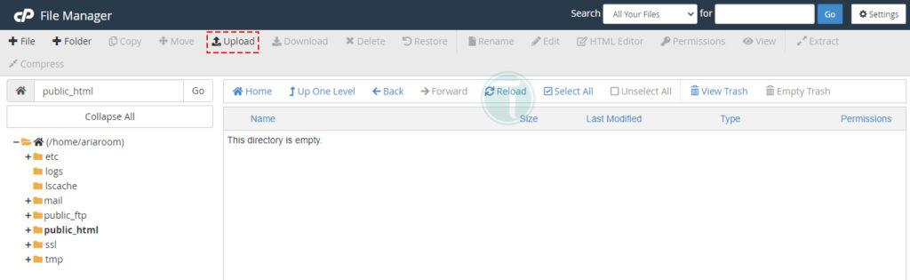 آپلود کردن فایل وردپرس در سی پنل
