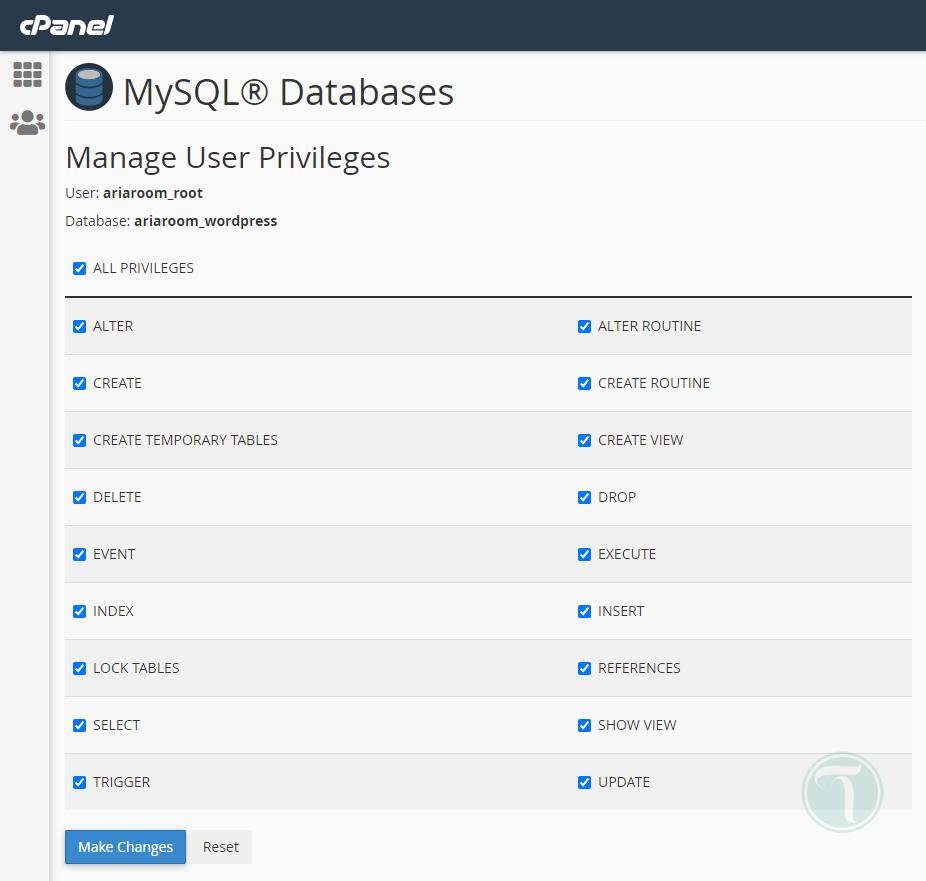 دسترسی های کاربر پایگاه داده